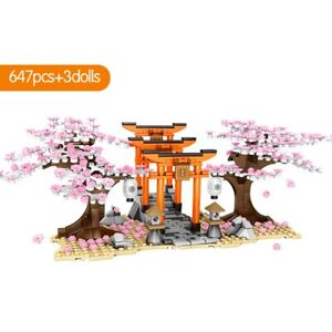 City Japan Sakura Tree Street Sembo C70 Mini Blocks Building Bricks 647+3 dolls