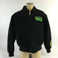 RARE Marvel Bomber Leather Jacket Incredible Hulk Collar Full Zip Black Mens XL