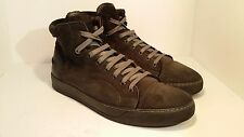 Men's Lanvin Dark Grey Soft Leather High Top Sneakers Size 11 M