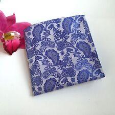 Blue Men Paisley Floral Flowers Pocket Square Wedding Party Handkerchief F016