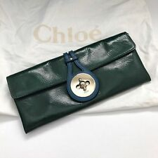 Chloe Dark Green Patent Leather Turnlock Cluch Purse MKSTY 89388 NWT Dustbag