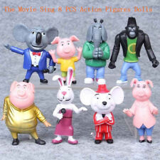 8 PCS The Movie Sing Action Figures Doll Toys Buster Moon Johnny Meena Kids Gift