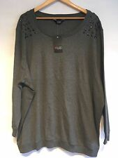 Ladies Yours Lightweight Grey Embellished Jumper Plus Size 22/24 BNWT