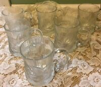 Set of 6 Vintage Arcoroc Canterbury Glass Cups France Textured Floral Petal Mugs