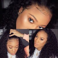 Black Wave Curly Lace Front Wig 100% Real Peruvian Virgin Human Hair Full Wigs