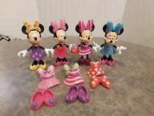 Disney Minnie Mouse Bow-Tique 25 Pc Lot 4 Dolls Snap On Dresses Shoes Bows Purse