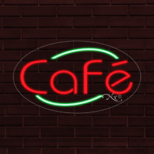 "New ListingBrand New ""Cafe"" w/Border Oval 30x17x1 Inch Led Flex Indoor Sign 34167"