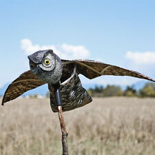 Bird Repellent Owl - Scare Eye Owl - Horned Owl Pest Deterrent with Moving Wings