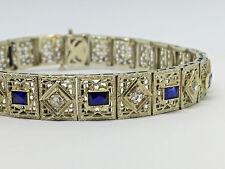 "Vintage~14K White Gold~Diamond~Sapphire Filigree Bracelet / 7"" - 12.7g"