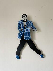 Elvis Presley Pendulum Blue and White Suit Wall Clock Swinging Legs & Hips Retro