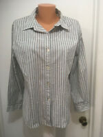 Chicos Womens Blouse  Blue White Black Striped Long Sleeve Size 2