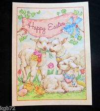 Leanin Tree Easter Greeting Card Flowers Lamb Duck Bird Multi Color E29