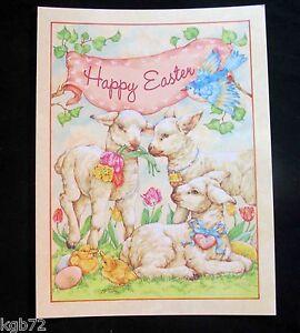 Leanin Tree Easter Greeting Card Flowers Lamb Duck Bird Multi Color E29