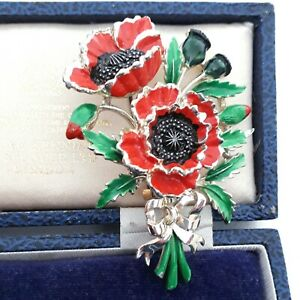VINTAGE SIGNED EXQUISITE POPPIES BIRTHDAY FLOWER AUGUST ENAMEL LARGE PIN BROOCH