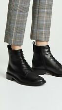 Women Vince Boots Cabria Zip Lace Up Leather Combat Ankle Booties Black 9.5 $395