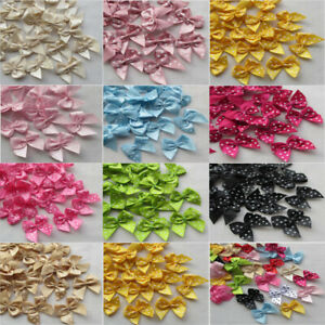 10-100 Pcs dots Satin Ribbon Bow Sewing Craft Flower Home Party Decoration