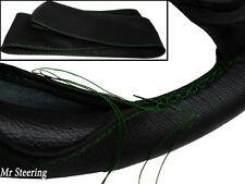 Per Vauxhall Zafira A 99-05 VERA PELLE NERA Volante Copertura Verde Stitch
