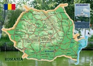 Romania Country Map New Postcard