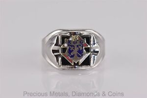 Sterling Silver Knights of Columbus Onyx Tapered Band Ring 925 Sz: 12