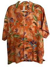 New listing Vintage Hawaiian Shirt Camp 100% Heavy Silk Orange Floral Tropical Size Medium
