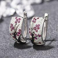 Women's 925 Silver Red Ruby Flower Plum Blossom Stud Ear Hoop Earrings Jewelry