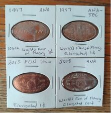 Nice Lot of Four Elongated Cents--All Coin Show Related--in 2x2 Flips