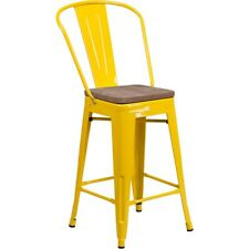"Flash Furniture 24"" Yellow Counter Ht. Stool w/Back - CH-31320-24GB-YL-WD-GG"