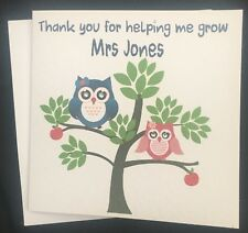 Personalised Thank You Teacher/Assistant- Nursery/Childminder owl card.