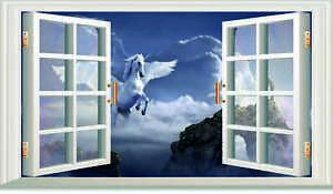 3D OPEN WINDOW FLYING UNICORN WALL ART STICKER GIRLS  BEDROOM DECAL  3 SIZES