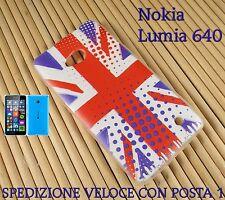 Cover custodia in gomma di silicone Smartphone Nokia Lumia 640 BANDIERA INGLESE