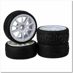 RC1:10 On Road Car 10 Spoke Wheel Rims White & Fish Scale Rubber Tires Set of 4