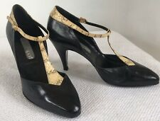 5.5 Med Vintage Albert Nipon Black Leather and Ivory Snake Skin Mary Jane Shoes