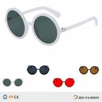 Womens Mod Circle Round Thick Plastic Retro Vintage Oversized Fashion Sunglasses