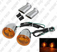 Stock Chrome Rear Turn Signal Light Yellow For Harley XL883 XL1200 Sportster 92-