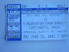 U2 Elevation Tour 2001 ticket stub Continental Arena Bono Edge
