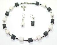 2er Schmuckset Halskette Kette Ohrringe Würfel Lava schwarz weiss silber  216f