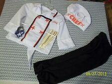 Chef Hat and Shirt/cooking utensils/Black Pants. Preowned. Sz 4-6