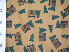 """Cheater Quilt Top Material By The Yard,X40,""""Evergreens & Wooden Bench"""""""