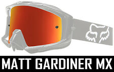 INFERNO RED MIRROR LENS to fit FOX MAIN MOTOCROSS GOGGLES tear off chrome