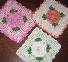 UNUSED Lot of 3 VINTAGE HAND CROCHETED POT HOLDERS PINK White RAISED ROSE CENTER