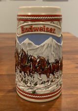 """1985 Budweiser """"A"""" Series Christmas Clydesdale Holiday Collector Beer Stein Mug"""