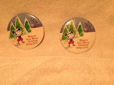 LOT of TWO (2) 2002 Mickey's VERY Merry Christmas PARTY Button WALT DISNEY WORLD