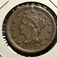 1852 LARGE CENT BRAIDED HAIR HIGH GRADE COIN