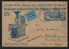 1940 #C24 Air Mail Advertising Postcard - Wallingford, CT to Prague