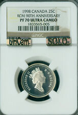 1998 CANADA 90TH SILVER 25 CENTS NGC PF70 UCam MAC SOLO FINEST MAC SPOTLESS  *