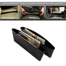 2* Black Car Seat Catch Gap Stopper Pocket Sleeves Catcher Organizer Store Box