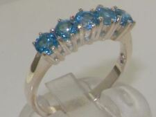 CUSTOMISEDSterling Silver LONDON BLUE NATURAL TOPAZ Eternity Band Ring