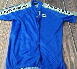 Castelli Full Zip 3 Pocket Cycling Jersey Men's Size Large Blue Gray & White