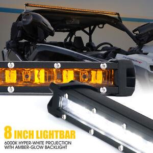 Xprite 8 Inch 30W LED Light Bar Amber Backlight Driving Work Strip Offroad UTV