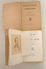 Giuseppe Giusti,MEMORIE INEDITE,1890 Treves/SCRITTI VARI,1863 Le Monnier[poesia